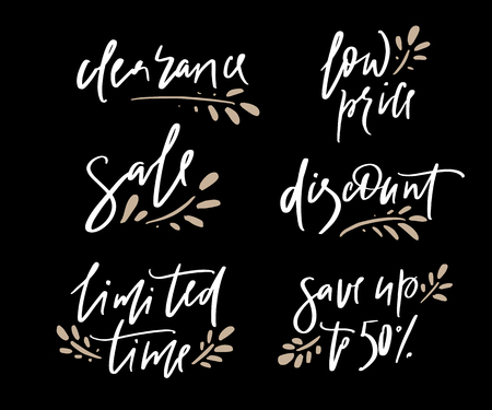 Hand drawn vector promotional design of words clearance, low price, sale, discount, limited time, save up for banner on website, clothes store. Drawn art sign. Art illustration of logotype give away