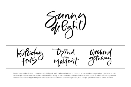 Hand drawn vector typography lettering holiday feels, sunny delight, the trend of the moment, weekend getaway poster for label, magazine, blogger, ad, shop, calligraphy logotype, text souvenir Stok Fotoğraf - 103783556