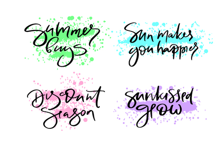 Hand drawn vector typography lettering summer, buys, sun makes you happier, discount, season, sunkissed glow, poster for label, magazine, blogger, ad, shop, calligraphy logotype, text souvenir Standard-Bild - 103783559