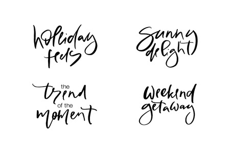 Hand drawn vector typography lettering holiday feels, sunny delight, the trend of the moment, weekend getaway poster for label, magazine, blogger, ad, shop, calligraphy logotype, text souvenir Stok Fotoğraf - 103783569