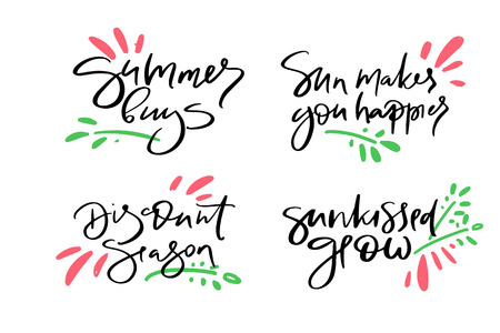 Hand drawn vector typography lettering summer, buys, sun makes you happier, discount, season, sunkissed glow, poster for label, magazine, blogger, ad, shop, calligraphy logotype, text souvenir Stok Fotoğraf - 103783571