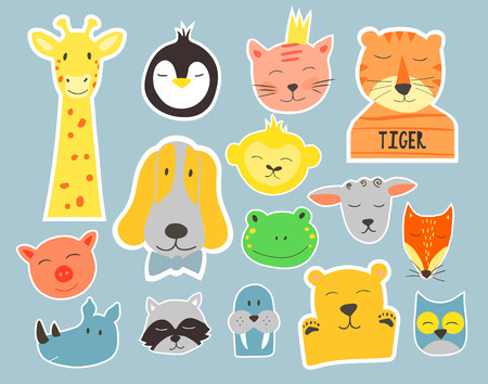 Vector  cute illustration of animal faces. Vector Clip art for Children. Badges and stickers