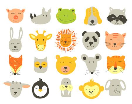 動物の顔のベクトルのかわいいイラスト。子供のためのベクター クリップ アート。  イラスト・ベクター素材
