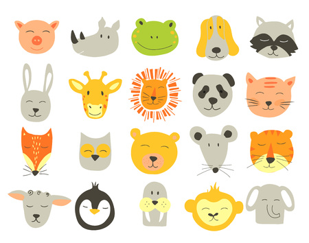 A Vector  cute illustration of animal faces. Vector Clip art for Children. Illustration