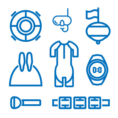 swimming belt: Set of icons on the theme of freediving Illustration