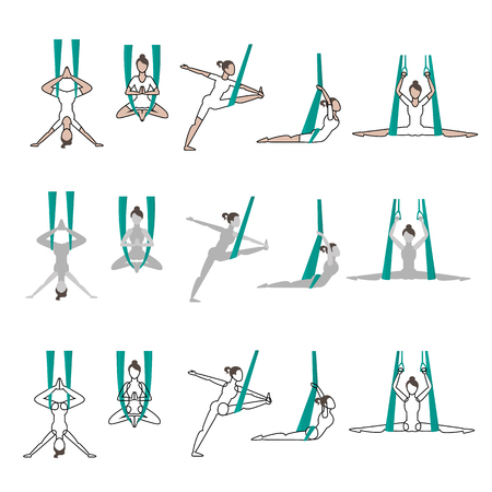 flexible girl: set of flying yoga poses
