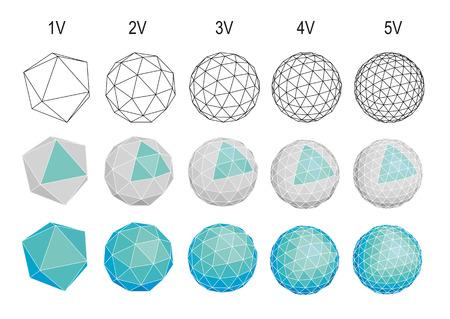set of geodesic spheres icons Vetores