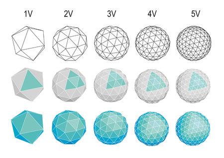 set van geodetische bollen pictogrammen Vector Illustratie