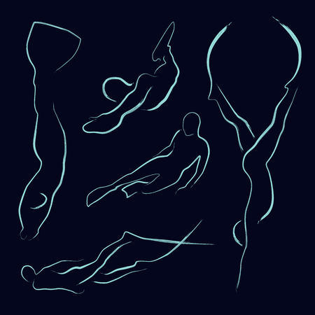 set of freedivers silhouette Illustration