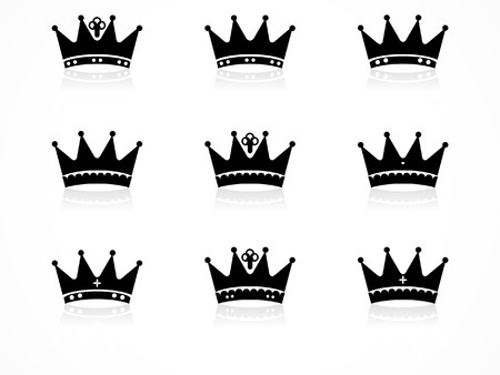 Crown icons set in different  Vector