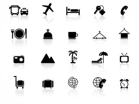 reception hotel: Hotel icons set