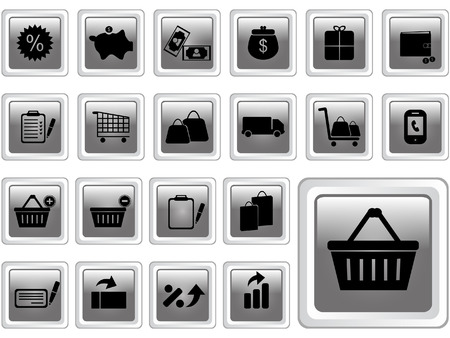 Commerce and retail buttons Stock Vector - 7976887
