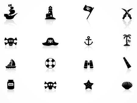Pirate icons set Vector