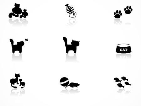 cat toy: Conjunto de iconos de gato Vectores