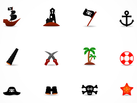 Pirate icons color set  Vector
