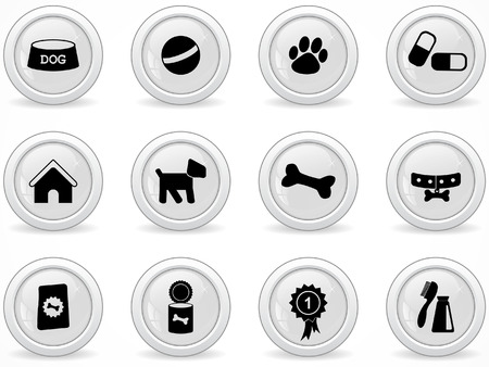 pet care: Web buttons, dog icons