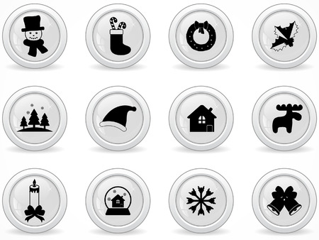 Web buttons, Christmas icons Vector