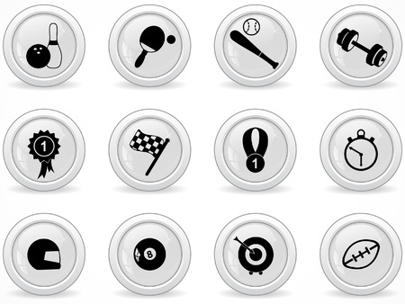 Web buttons, sport icons Vector