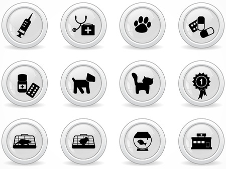 veterinarian symbol: Web buttons, veterinary icons