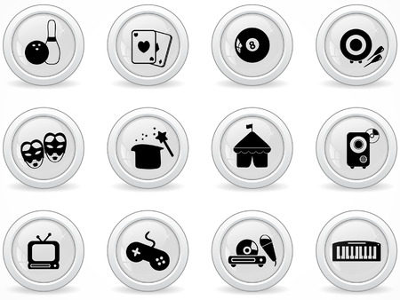 Web buttons, Entertainment icons Stock Vector - 8363351