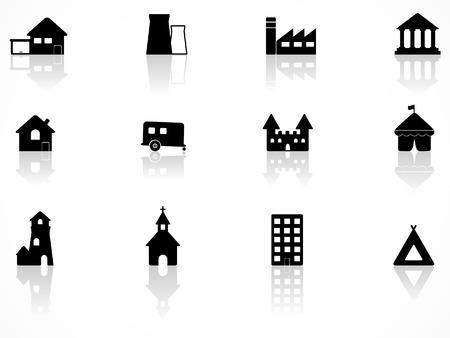 Conjunto de iconos de edificio Ilustración de vector
