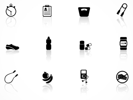 exercise equipment: Exercise equipment icons Illustration