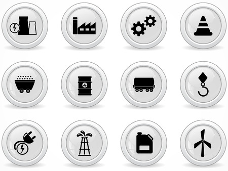 Web buttons, energy and industry icons Vector