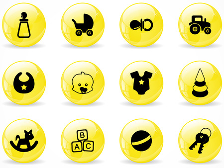 Glossy web buttons, baby icons Vector