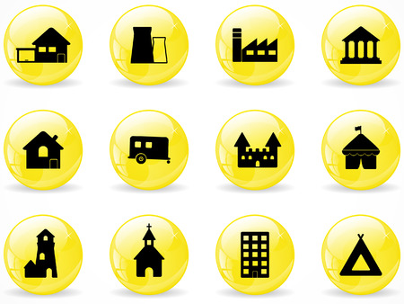 Glossy web buttons, building icons Stock Vector - 8454574