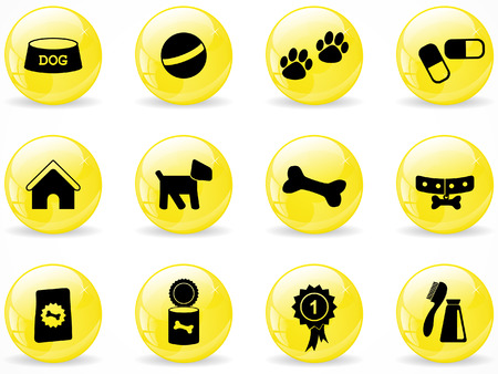 Glossy web buttons, dog icons Vector