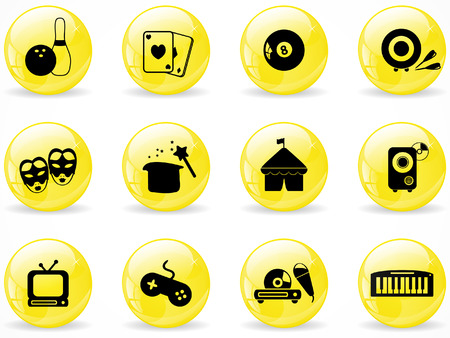 Glossy web buttons, entertainment icons Stock Vector - 8454582