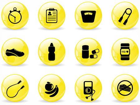 fitness ball: Botones de web brillante, ejercer iconos de equipo Vectores