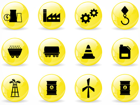 Glossy web buttons, energy and industry icons Vector