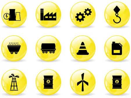 oliedrum: Web glanzende knoppen, energie- en industrie pictogrammen Stock Illustratie