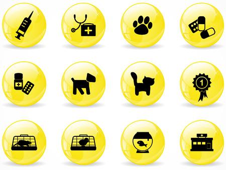 veterinarian: Glossy web buttons, veterinaire pictogrammen