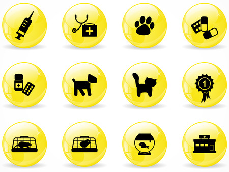 Glossy web buttons, veterinary icons