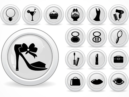 Web buttons, womans beauty icons Vector