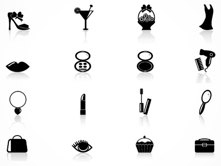 womans: Womans beauty icons set