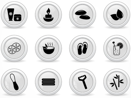Web buttons, spa and wellness icons  Vector