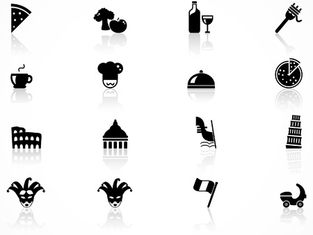 italian pasta: Conjunto de iconos de la cultura de Italia