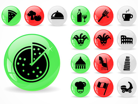 Glossy web buttons, Italy Culture icons Vector