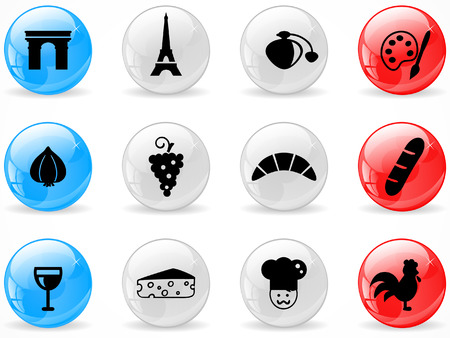 Glossy web buttons, French culture icons  Vector