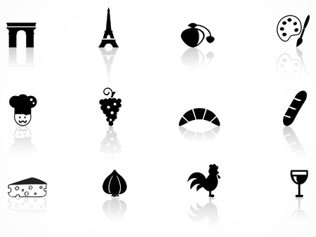 French culture icons set Vector