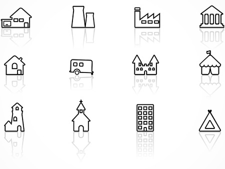entertainment industry: Building icon set, contour series