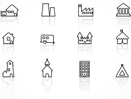 Conjunto de iconos de edificio, serie de contorno