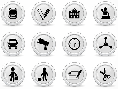 school backpack: Web buttons, Elementary school icons Illustration