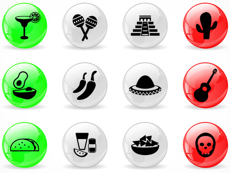 tequila: Web buttons, Mexican culture Illustration