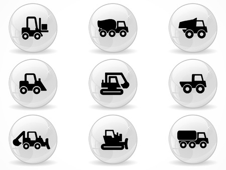 Web buttons, Construction machines Vector