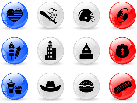 Web buttons, American symbols Vector