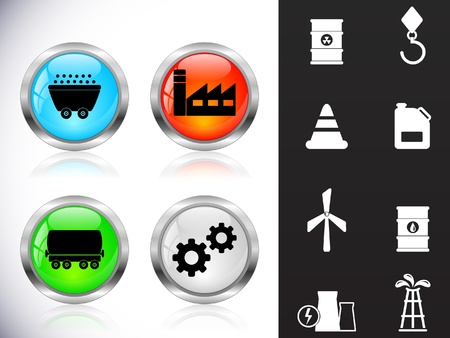 coal power station: Web metal buttons